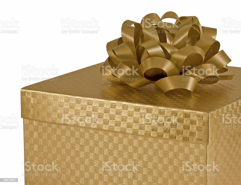Gold gift box royalty-free stock photo