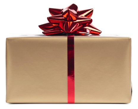 Gold Gift Box Rapped In Red Ribbon Stock Photo - Download Image Now