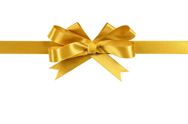 Gold gift ribbon and bow isolated on white stock photo