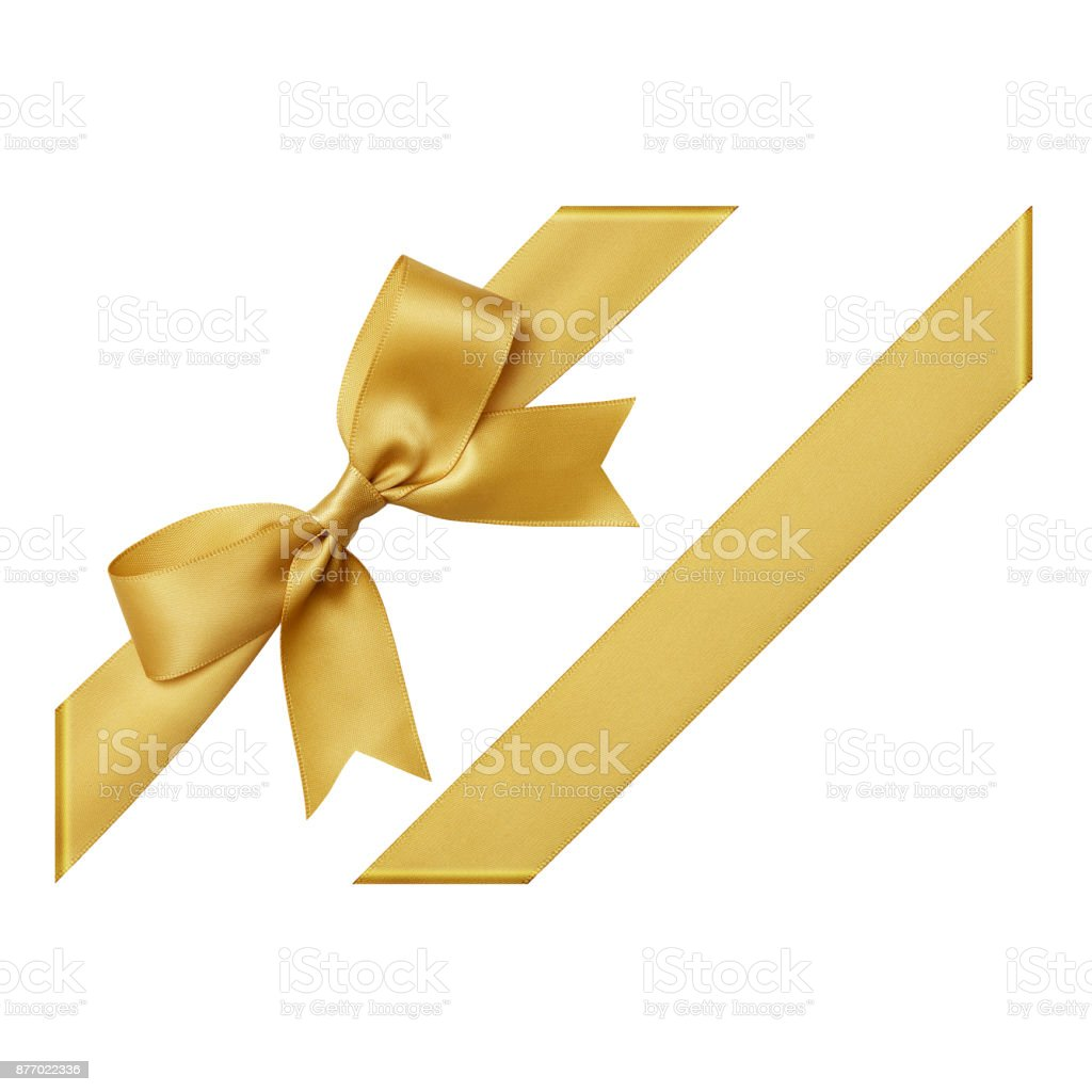 Gold gift ribbon tied in a bow on white background, cut out top view Gold color, Ribbon - Sewing Item, Tied Bow, Gift, Tied Knot, cut out Birthday Stock Photo