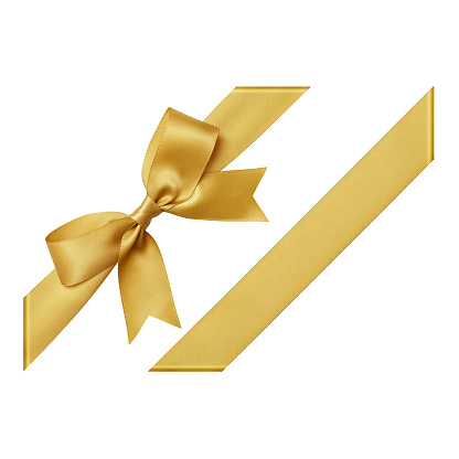 Gold Gift Ribbon Tied In A Bow On White Background Cut Out Top View Stock Photo - Download Image Now
