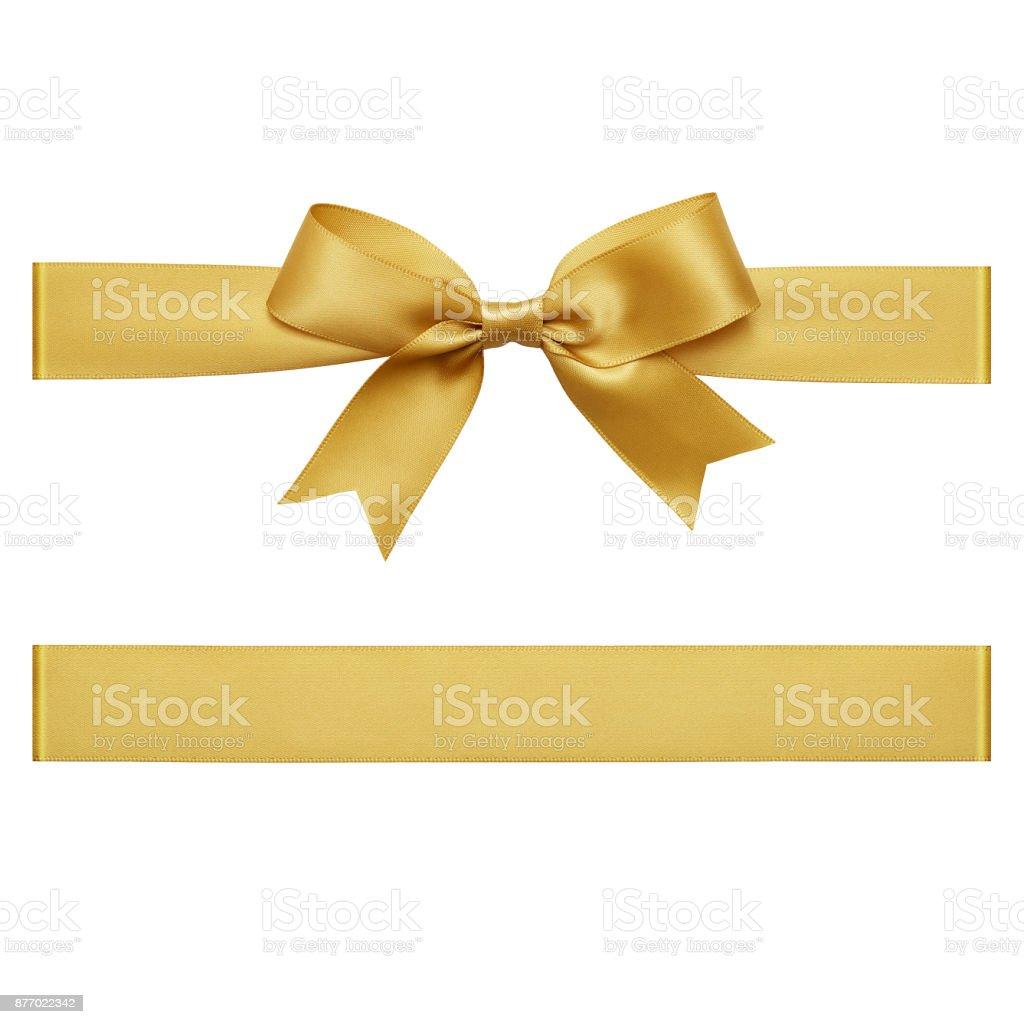 Gold gift ribbon tied in a bow on white background, cut out top view stock photo