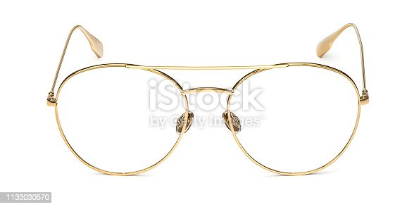 1047544590 istock photo Gold glasses metal in round frame transparent for reading or good eye sight, front view isolated on white background 1133030570