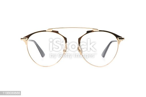 1047544590 istock photo Gold glasses metal isolated on white background 1133030555