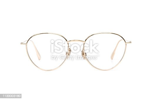 1047544590 istock photo Gold glasses metal reading or good eye sight, front view isolated on white background. Glasses mockup 1133003180