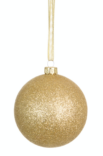 Gold glitter bauble on a white background.PLEASE CLICK ON THE IMAGE BELOW TO SEE MY CHRISTMAS LIGHTBOX: