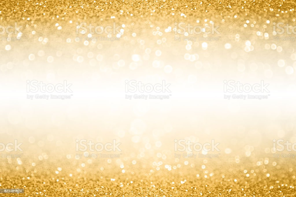 Gold Glitter Border Banner Background For Anniversary, Christmas or Birthday stock photo