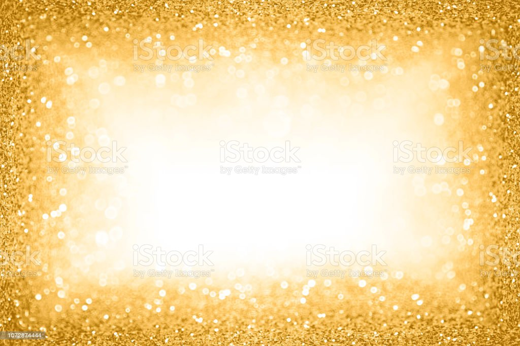 Gold Glitter Border Frame Background for New Year Eve Champagne Bubbles or Sparkley Wedding Anniversary stock photo