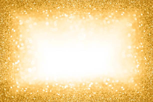 goldglitter grenze rahmenhintergrund für new year eve champagne bubbles oder sparkley hochzeitstag - einladungskarten 50. geburtstag stock-fotos und bilder