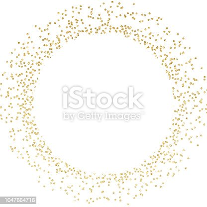 Gold glitter circle frame art