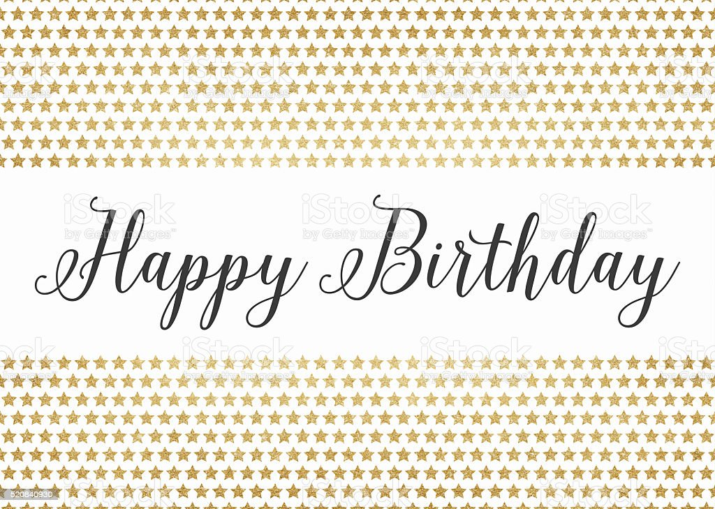 Gold glitter happy birthday background stock photo