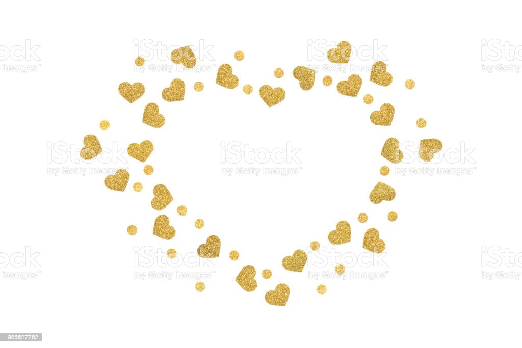 Gold Glitter Heart And Dot Frame Paper Cut Stock Photo