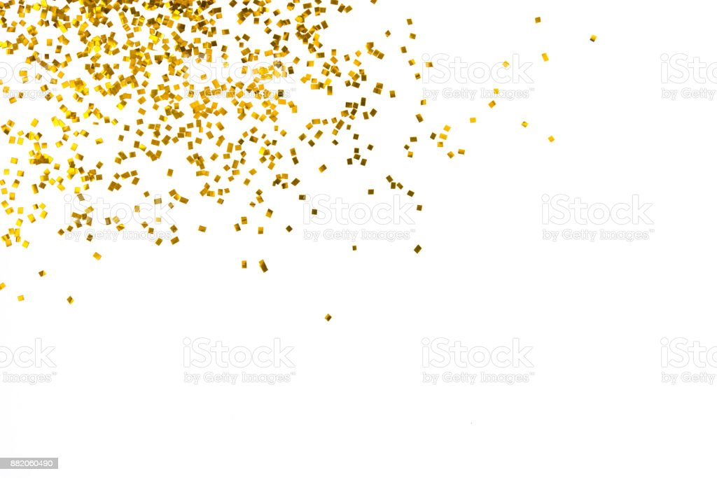 Gold glitter isolated on white background decoration party merry christmas happy new year backdrop design stock photo