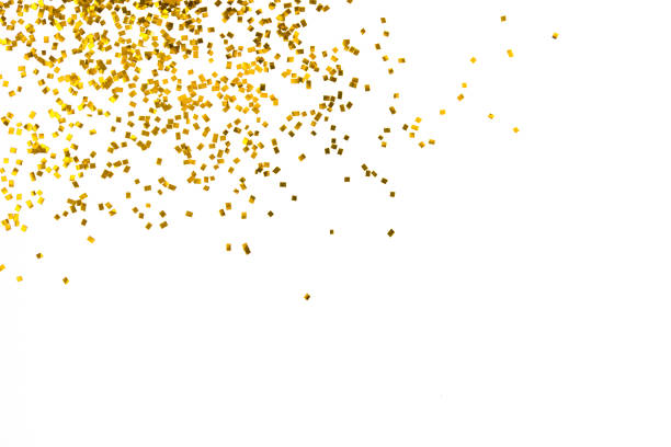 gold glitter isolated on white background decoration party merry christmas happy new year backdrop design - scintillante foto e immagini stock