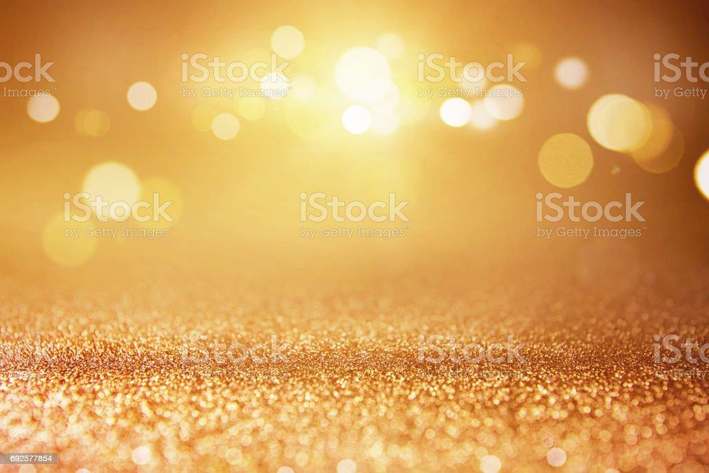 Goldglitter Lichter Bokeh Hintergrund. – Foto