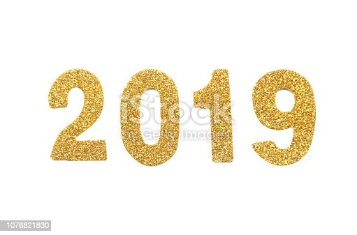 istock 2019 gold glitter number isolated. For design. with clipping path 1076821830