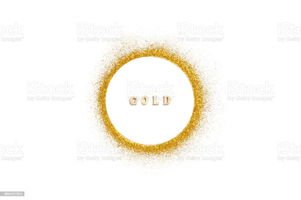 Gold glitter on white background stock photo