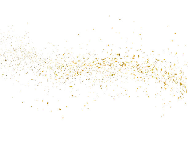 gold glitter particles background - confete imagens e fotografias de stock