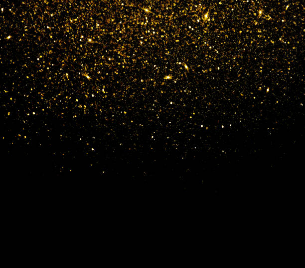 gold glitter particles background - black background stock pictures, royalty-free photos & images