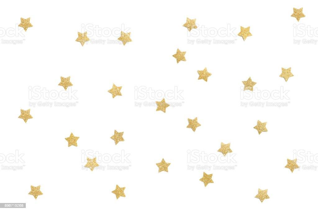 Glitter dourados estrela corte de papel no fundo branco - foto de acervo