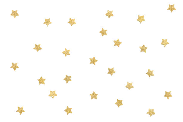 gold glitter star paper cut on white background - star shape stock photos and pictures