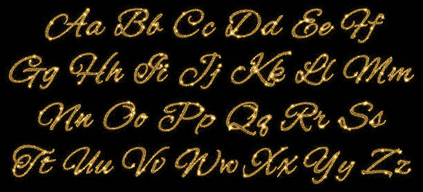 gold glittering alphabet of stars dust trail - typescript stock pictures, royalty-free photos & images