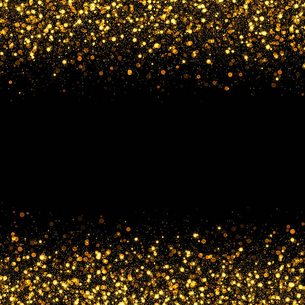 Gold glitter texture Silver sparkles black holiday lights ...