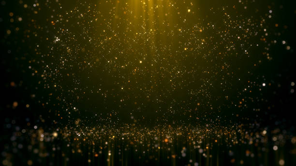 gold glittering bokeh glamour abstract background - scintillante foto e immagini stock