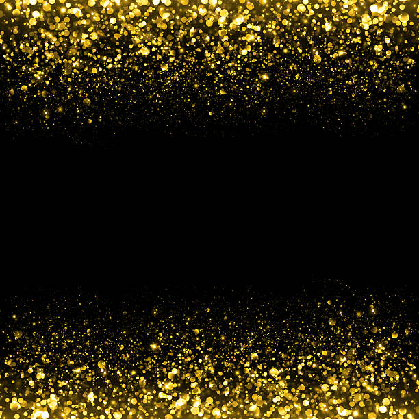 Gold glittering sparks background stock photo