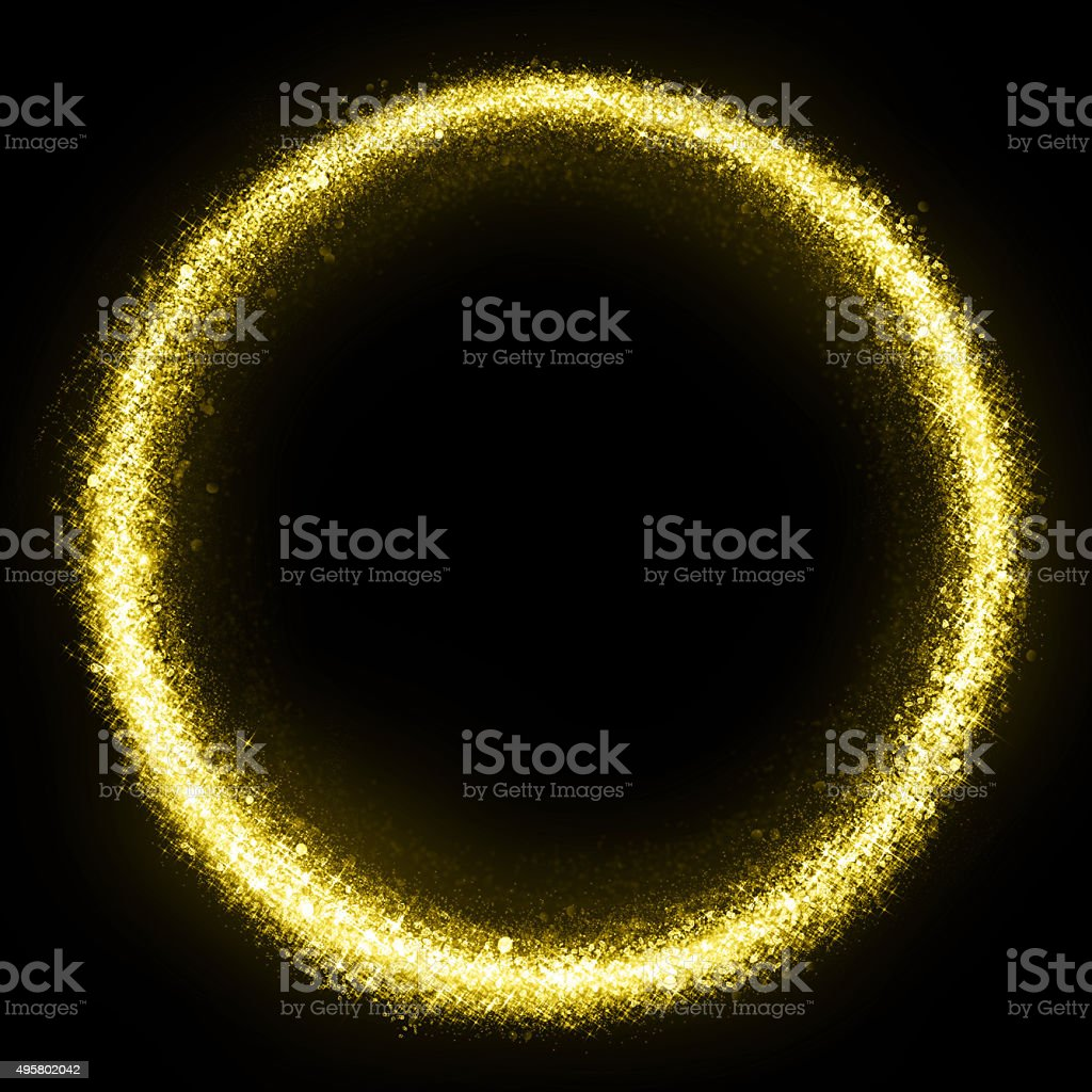 Gold glittering star dust circle stock photo