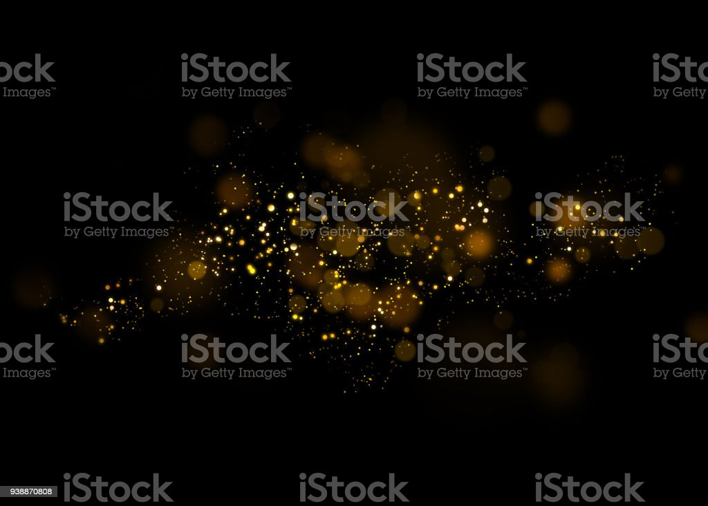Gold glittering star light and bokeh.Magic dust abstract background element for your product. stock photo