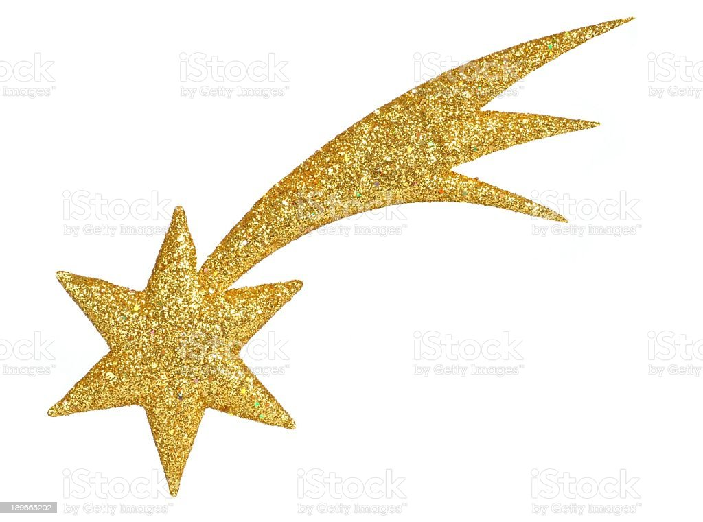 Gold glittery shooting star Christmas decoration  stock photo