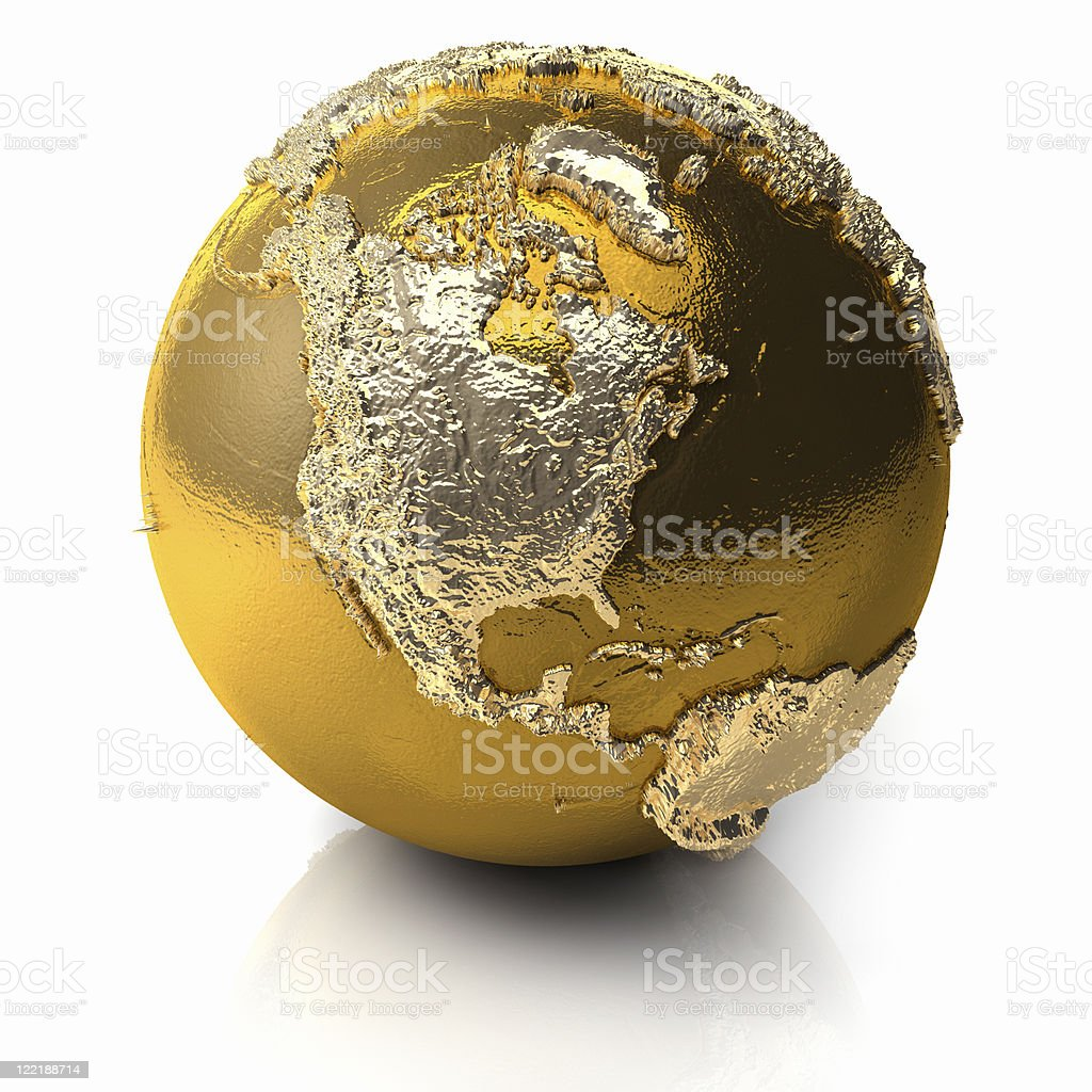 Gold Globe - North America stock photo