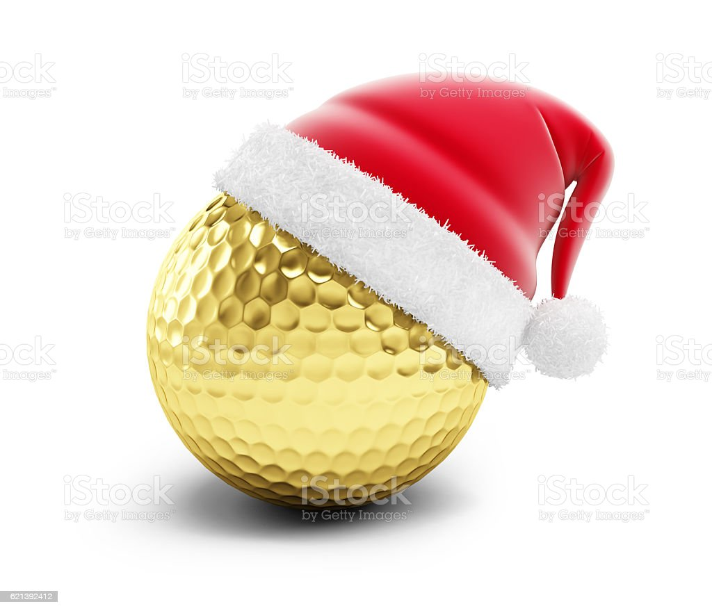 gold golf ball sant hat stock photo