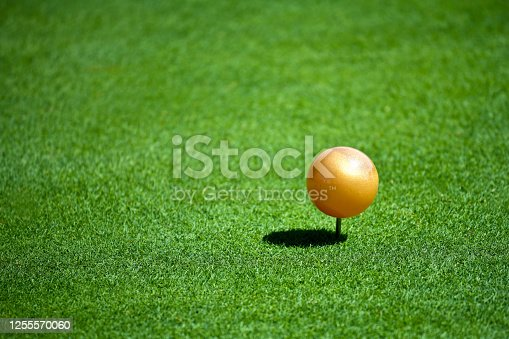 A Close up View of a Gold Tee Marker on a Golf Course on a Sunny Day. n.