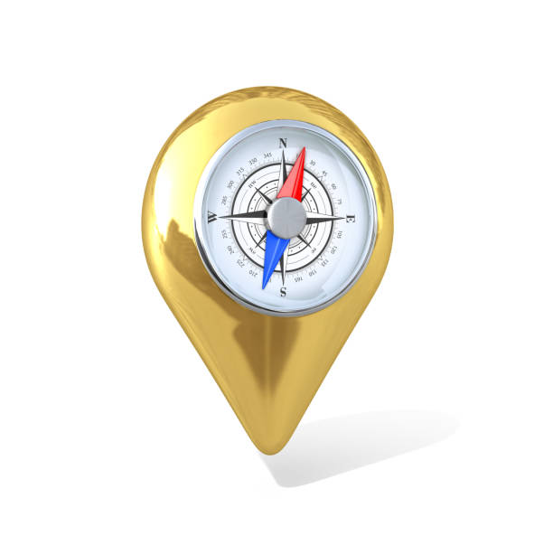 Gold GPS map pointer, inside with compass. 3D illustration stock photo