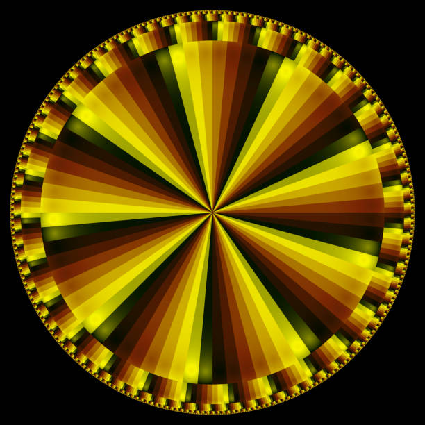 gold green circle spokes subdivided at perimeter fractal - whiteway fractal stock photos and pictures