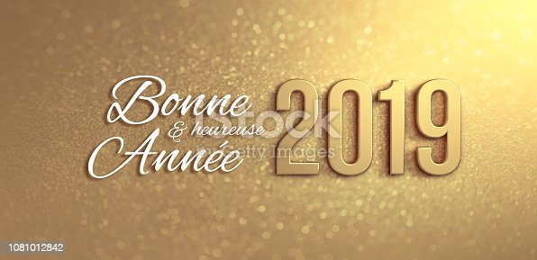 istock Gold Greeting card 2019 in French 1081012842