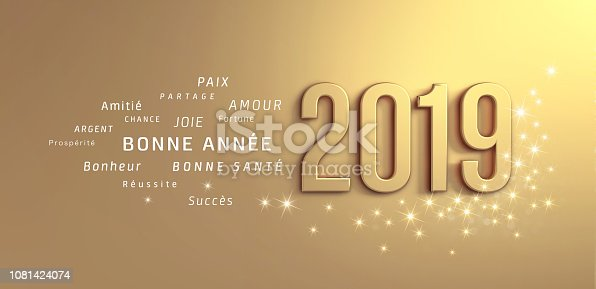 istock Gold Greeting card 2019 in French 1081424074