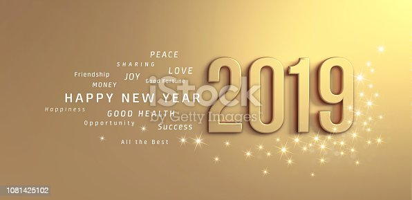 istock Gold Greeting card 2019 1081425102