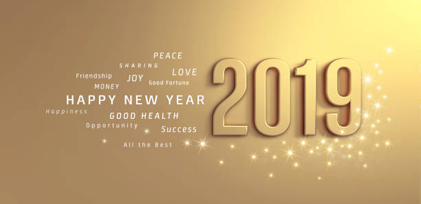 Gold Greeting card 2019 stock photo