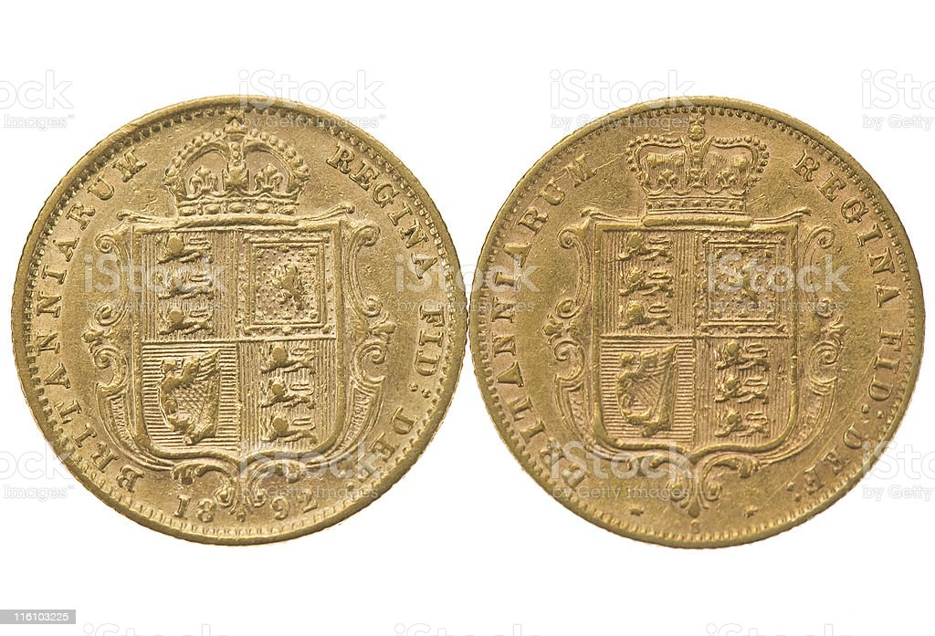 Gold Half Sovereigns royalty-free stock photo