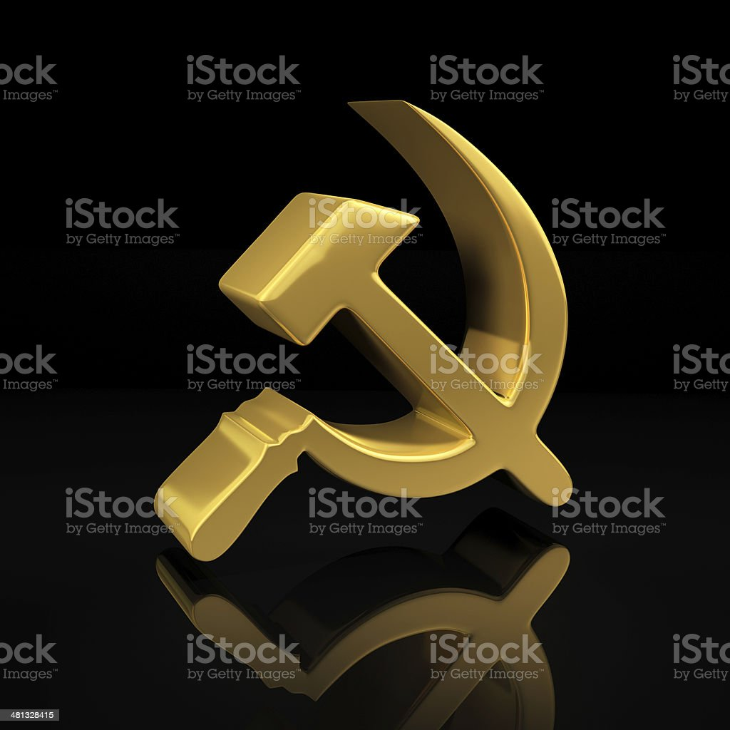 Gold hammer and sickle on black stock photo