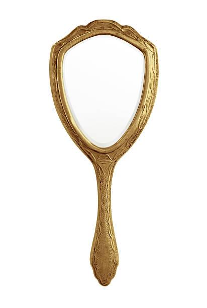 gold hand mirror - handspiegel stockfoto's en -beelden
