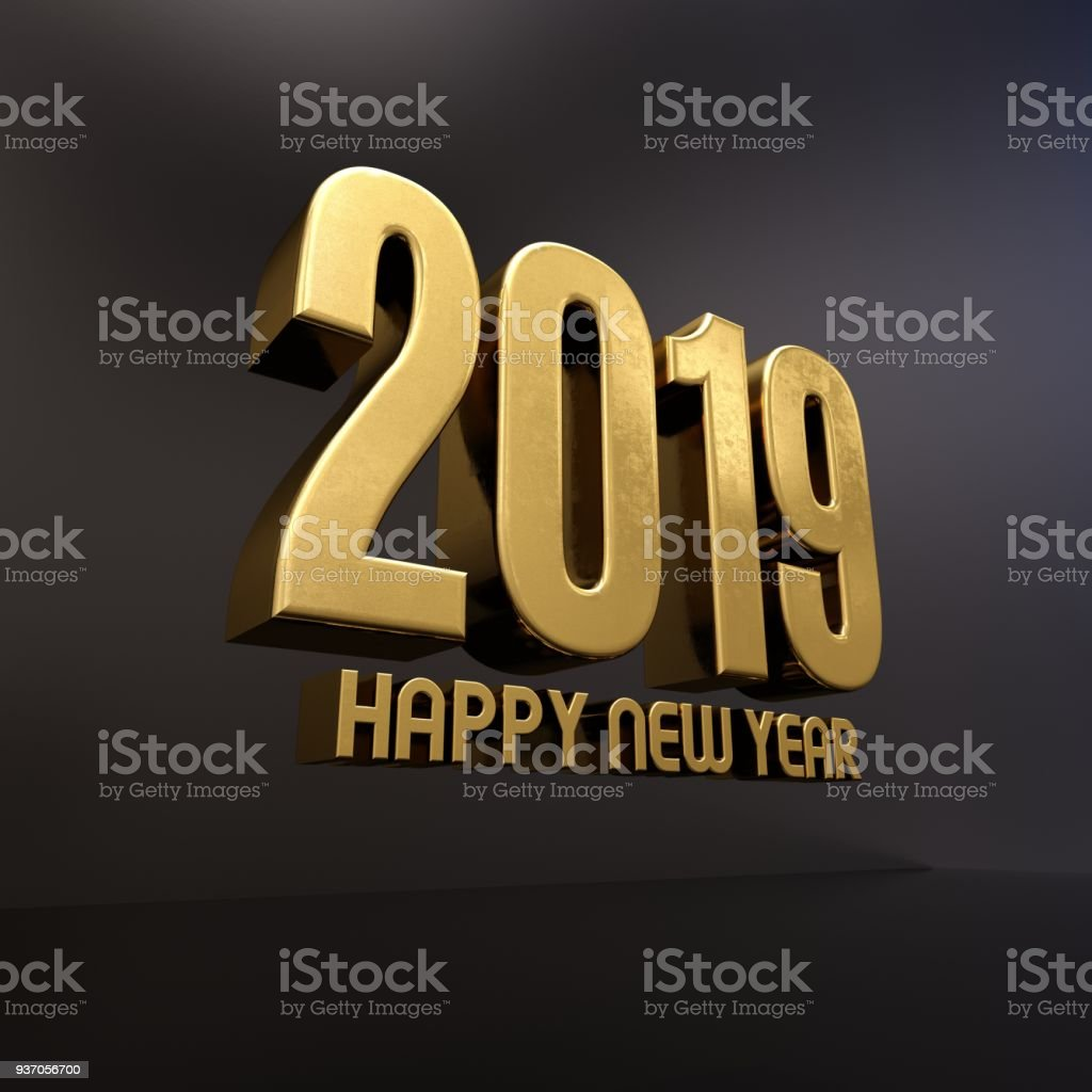 Gold Happy New Year 2019 Text stock photo