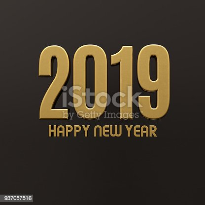 istock Gold Happy New Year 2019 Text 937057516