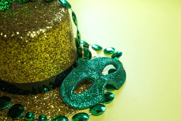gold hat - mardi gras borders silhouette stock photos and pictures