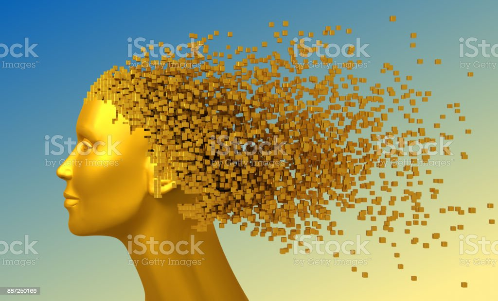 Gold Head Of Woman And 3D Pixels As Hair On Blue Background stock photo