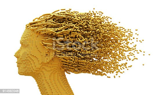 istock Gold Head Of Woman And 3D Spheres As Hair On White Background 914562048
