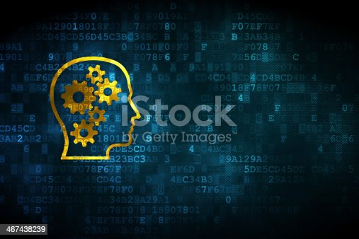 istock Gold head with gears on blue digital background 467438239